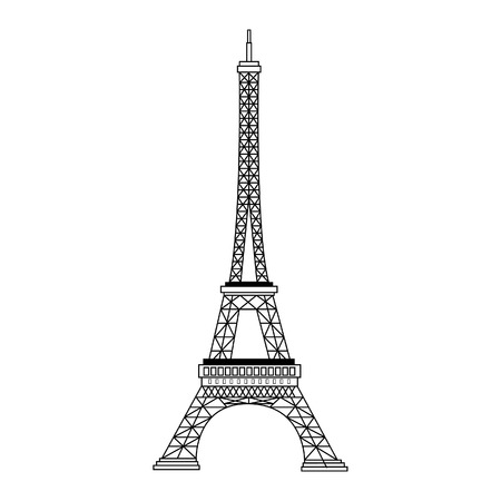eiffel tower: France famous construction eiffel tower black silhouette vector illustration