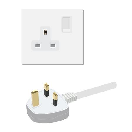 plug socket: Electric uk socket and plug vector illustration. Electricity symbols Illustration