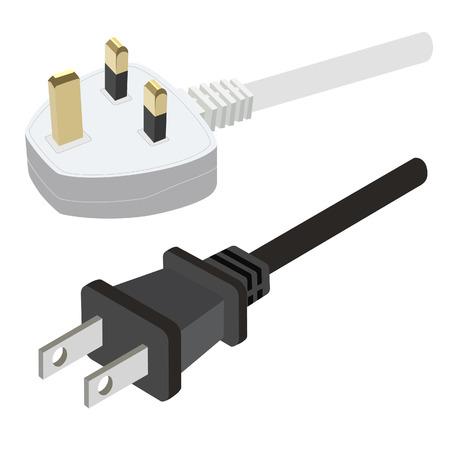 electric plug: Bianco uk spina elettrica e nero usa illustrazione vettoriale spina. Collegare. Icona Plug