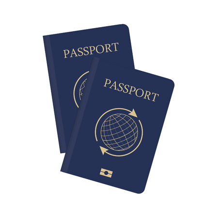 credential: Blue passport with globe and arrows around vector illustration. Passport icon. Traveling passport Illustration