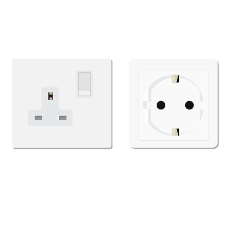 electric socket: White european and uk socket vector illustration. Electric socket. Electricity symbols