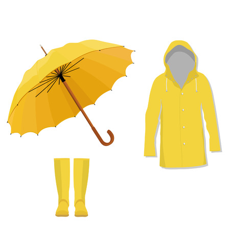 Yellow raincoat, rubber boots and opened umbrella. Fashion, protection
