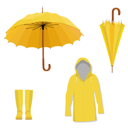 Yellow raincoat, rubber boots, opened and closed umbrella. Fashion protection