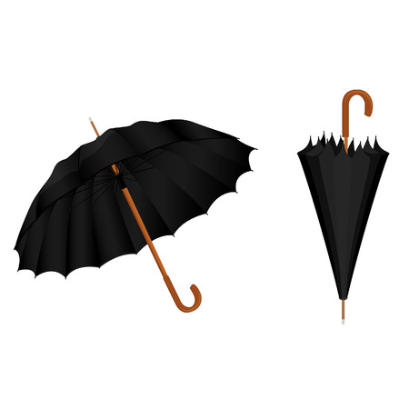 umbrella rain: Two black umbrellas opened and closed vector illustration. Umbrella rain, umbrella icon Illustration