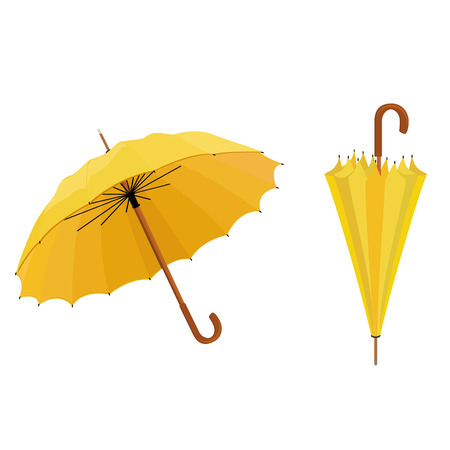 umbrella rain: Two yellow umbrellas opened and closed vector illustration. Umbrella rain, umbrella icon