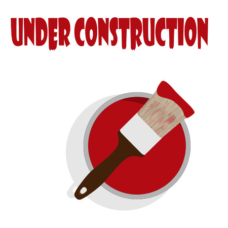 under construction symbol: Under construction sign with paint can with red paint and paintbrush vector illustration. Under construction symbol