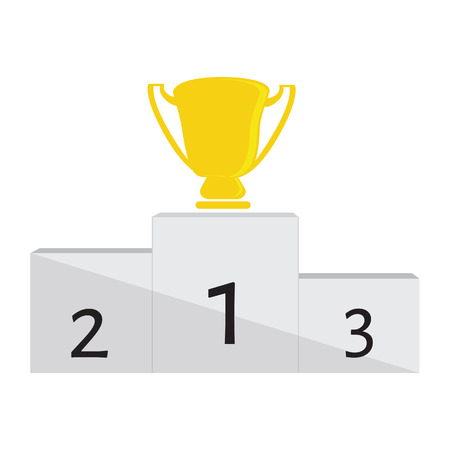 winner podium: Winner podium with golden trophy cup for first place vector illustration. Winners stand