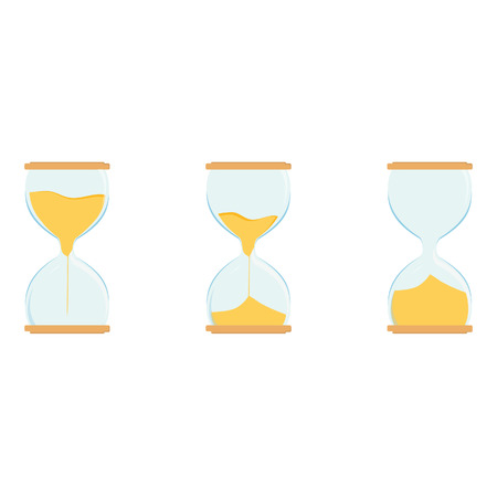 watch glass: Three hourglass vector icon set. Sand watch. Sand glass. Empty, full hourglass