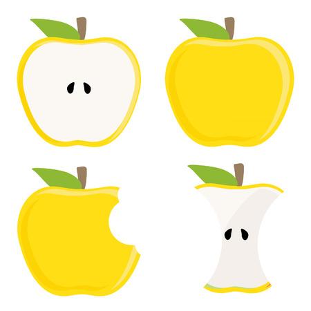 bitten: De manzana entera amarillo, media manzana, toc�n manzana y conjunto de vectores manzana mordida, comida sana, fruta fresca Vectores