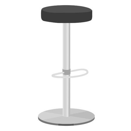 Black bar stool vector illustration. Bar chair. High chair. Bar interior design.