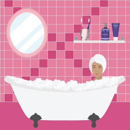 productos de aseo: Interior moderno del cuarto de baño con espejo, estantes y artículos de aseo. Artículos de tocador crema, jabón, cepillo de dientes con pasta de dientes. Muchacha con la toalla relajarse en el baño con burbujas. Baño rosa Vectores