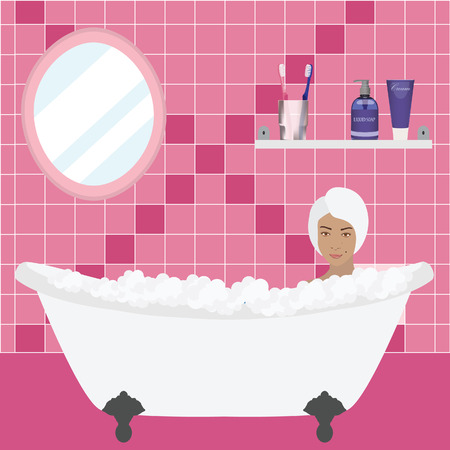 bath room: Modern bathroom interior with mirror, shelf and toiletries. Toiletries cream, soap, toothbrush with toothpaste. Girl with towel relax in bath with bubbles. Pink bathroom Illustration