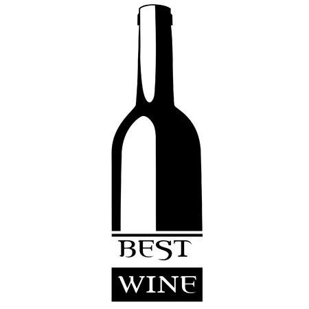 wine label design: Vector illustration of wine bottle with text best wine. Wine label. Wine label design best for winemakers. Black silhouette of wine bottle