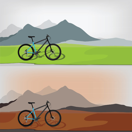moutain: Two different vector illustration of bicycle riding in wild mountain nature landscape, background. Sunset time. Day time Illustration