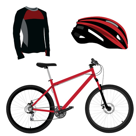 red mountain: Red bicycle, helmet and shirt vector set, sport equipment, sports uniform, biking clothes Illustration
