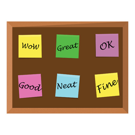 notice board: Brown wooden bulletin board with six color stick notes yellow, green, pink, purple and blue. Notice board. Cork board. School bulletin board Illustration