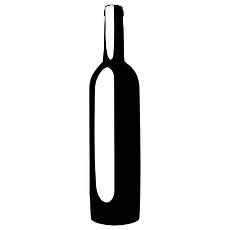 wine label design: Black silhouette of wine bottle vector illustration. Wine label design. Wine bottle icon Illustration