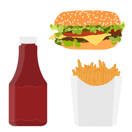 leaf lettuce: Vector illustration of fast food menu or meal. Bottle of tomato ketchup, french fries in white box and cheeseburger. Unhealthy food. Fast food restaurant