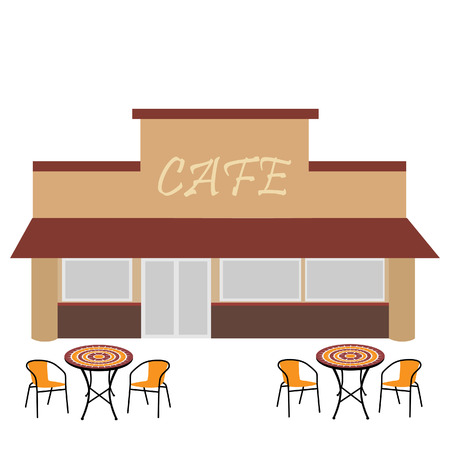 outdoor cafe: Cafe building vector illustration. Outdoor cafe. Coffee shop. Summer terrace with table and chairs Illustration