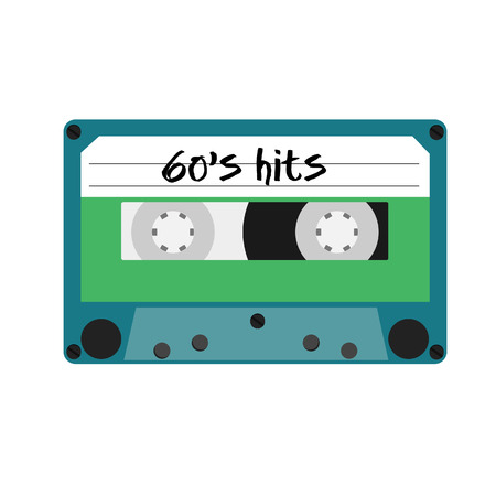 hits: Blue cassette tape with text 60s hits vector isolated. Vintage cassette Illustration