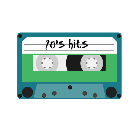 cassette tape: Blue cassette tape with text 70s hits vector isolated. Vintage cassette