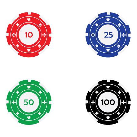 fichas de casino: Ilustraci�n vectorial de diferentes fichas de casino de color rojo, azul, verde y negro con trajes de la tarjeta. Fichas de p�quer. Fichas de juego. Fichas de casino con valor nominal Vectores