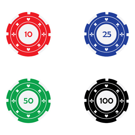 Vector illustration of different color casino chips red, blue, green and black with card suits. Poker chips. Gambling chips. Casino chips with nominal value Illustration