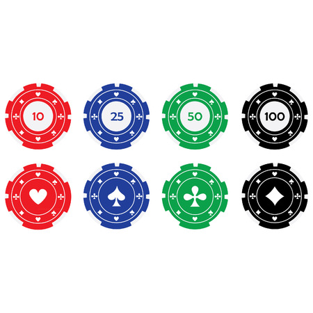 gambling chips: Vector illustration of different color casino chips red, blue, green and black with card suits. Poker chips. Gambling chips. Casino chips with nominal value Illustration