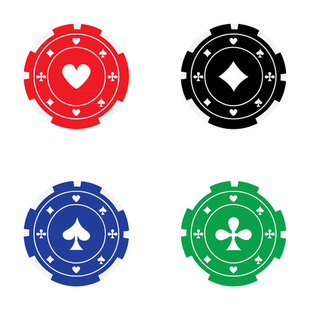 token: Vector illustration of different color casino chips red, blue, green and black with card suits. Poker chips. Gambling chips