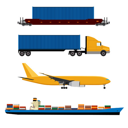 Vector illustration of yellow airplane, truck with container, cargo ship and ship container icon set. Maritime shipping. Logistic network. Air cargo.