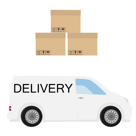 white boxes: Delivery icon set. White delivery van and three carton boxes. Express delivery. Illustration