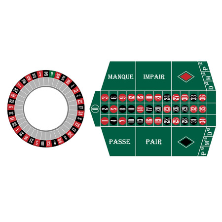 wheel of fortune: Roulette wheel and table vector set, casino table, gambling. French roulette