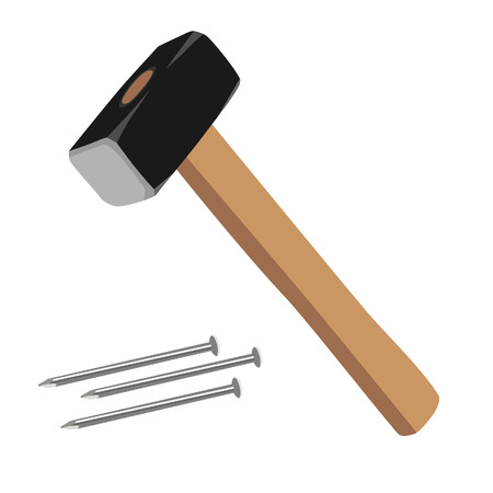 Sledge hammer and nails vector illustration. Hammer with wooden handle. Hammer icon. Working tools