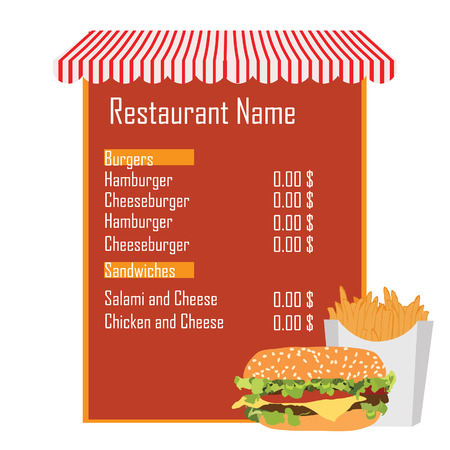 cheese burger: Fast food menu with cheeseburger and french fries. Menu with store awning. Menu design. Food menu Illustration