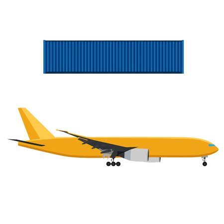 boeing: Yellow airplane and blue cargo container vector illustration. Worldwide delivery. Delivery icon