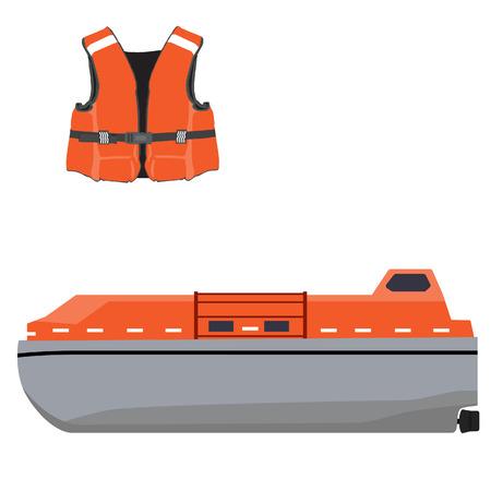 Vector illustration of orange life boat and life jacket. Life guard. Life saver. Rescue boat. Life raft. Vector icon set