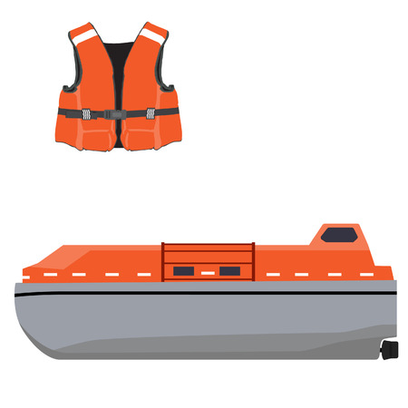 safety equipment: Vector illustration of orange life boat and life jacket. Life guard. Life saver. Rescue boat. Life raft. Vector icon set