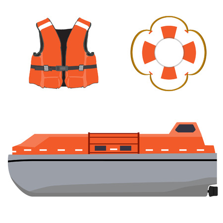 saver: Vector illustration of life boat, life jacket and life buoy. Life guard. Life saver. Rescue boat. Life raft