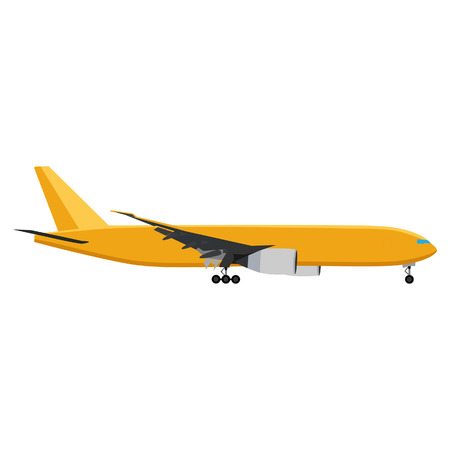 boeing: Yellow airplane vector illustration. Airplane icon. Flying airplane