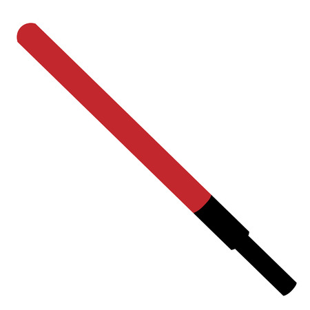 police equipment: Vector illustration of red police stick with handle. Road police. Police baton. Policeman equipment