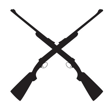 Two crossed rifle vector illustration. Hunting rifle. Sniper rifle. Old rifle. Revolution symbol Ilustrace