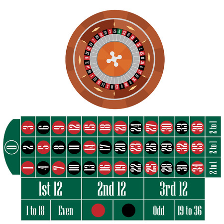 wheel of fortune: Roulette wheel and table vector set, casino table, gambling