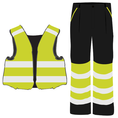Gele veiligheidskleding vector icon set met veiligheids vest en broek. Veiligheids materiaal. Beschermende werkkleding