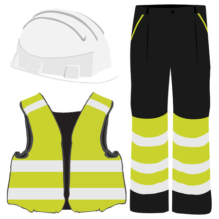 Gele veiligheidskleding vector icon set met veiligheids vest, broek en witte helm. Veiligheids materiaal. Beschermende werkkleding
