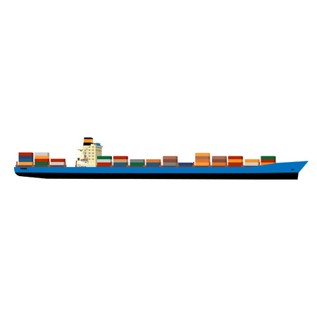 loading dock: Vector illustration of cargo ship with containers. Ship container. Cargo container. International delivery