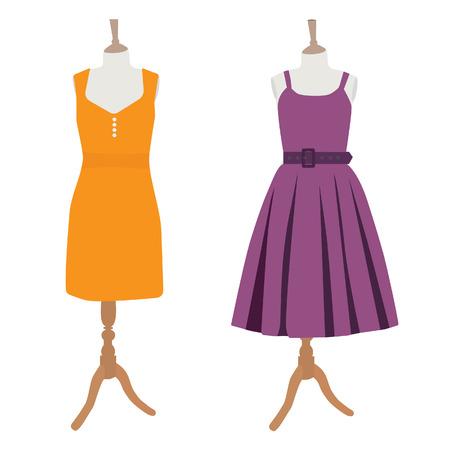 cocktaildress: Oranje en paarse zomer jurk op mannequin vector illustratie. Vrouwenkleding. Cocktail jurk