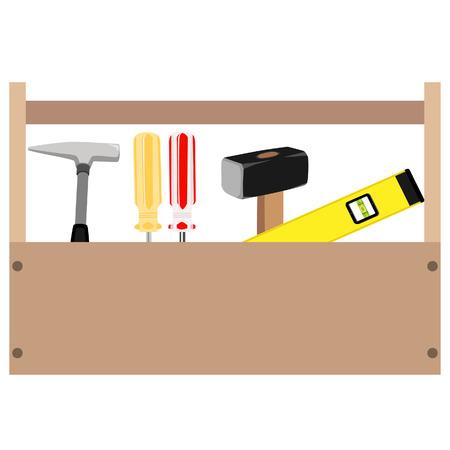 trineo: Caja de herramientas de madera con mango. Ilustración vectorial de color naranja y rojo destornillador, martillo, martillo y una herramienta de nivel dentro de la caja de herramientas Vectores
