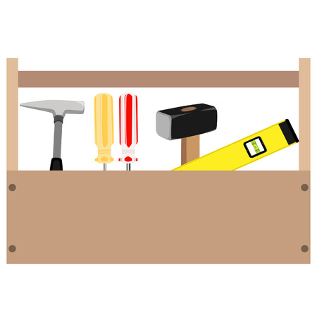 sledge: Wooden toolbox with handle. Vector illustration of  orange and red screwdriver, sledge hammer, hammer and level tool inside toolbox Illustration