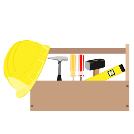 sledge hammer: Wooden toolbox with handle. Vector illustration of  orange and red screwdriver, sledge hammer, helmet, hammer and level tool inside toolbox
