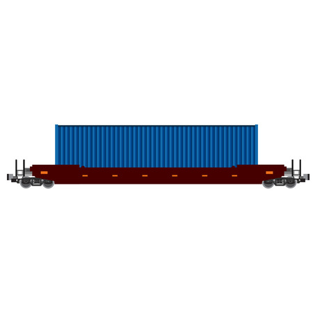 goods train: Vector illustration of train with blue container. Container rail. Goods train. Cargo train. International delivery. Worldwide delivery
